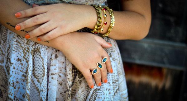 anel duplo de pedras - anel dois dedos - mix de pulseiras