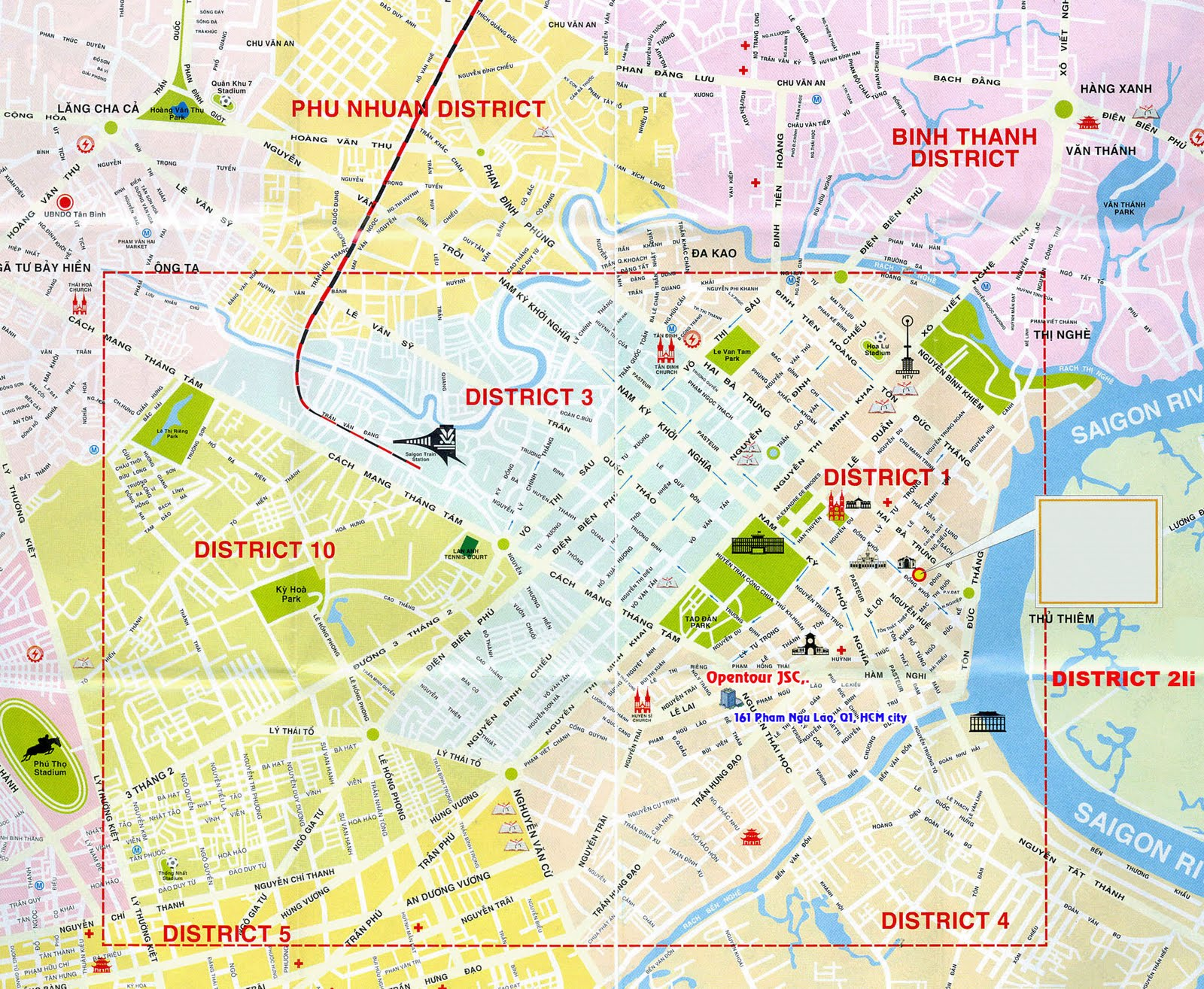 Saigon Map Tourist map city map and street map of Ho Chi Minh – Madrid Tourist Attractions Map