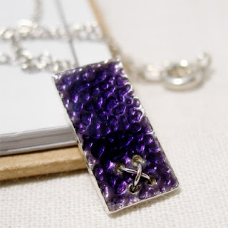 Purple Enamel Silver Kiss Pendant Necklace, Rectangle