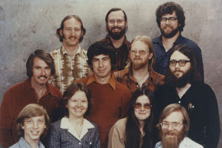 Microsoft employees including Bill Gates and Paul Allen in 1978