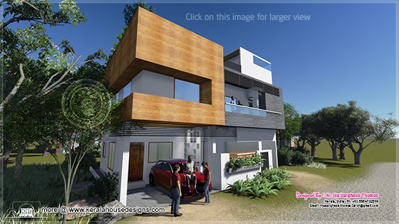 1600 square feet modern contemporary house home kerala plans for Modern house plans for 1600 sq ft
