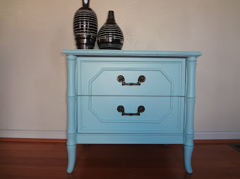 1960's Bamboo Blue Heaven End Table-$150