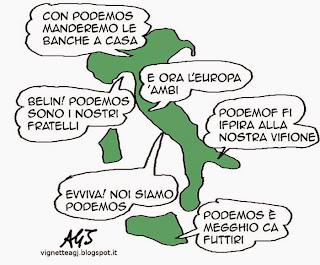 podemos, italia, satira vignetta