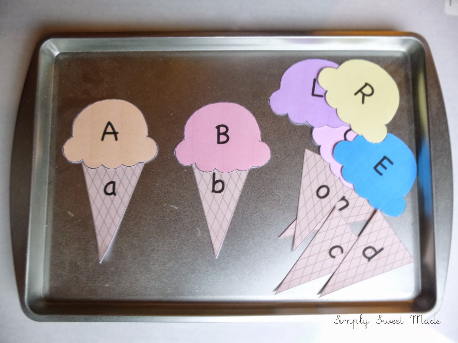 Ice cream letter match with a free download simply sweet made would you like to make one for your child click here for a free download of the ice cream match i printed mine on card stock and i think it would last ccuart Gallery