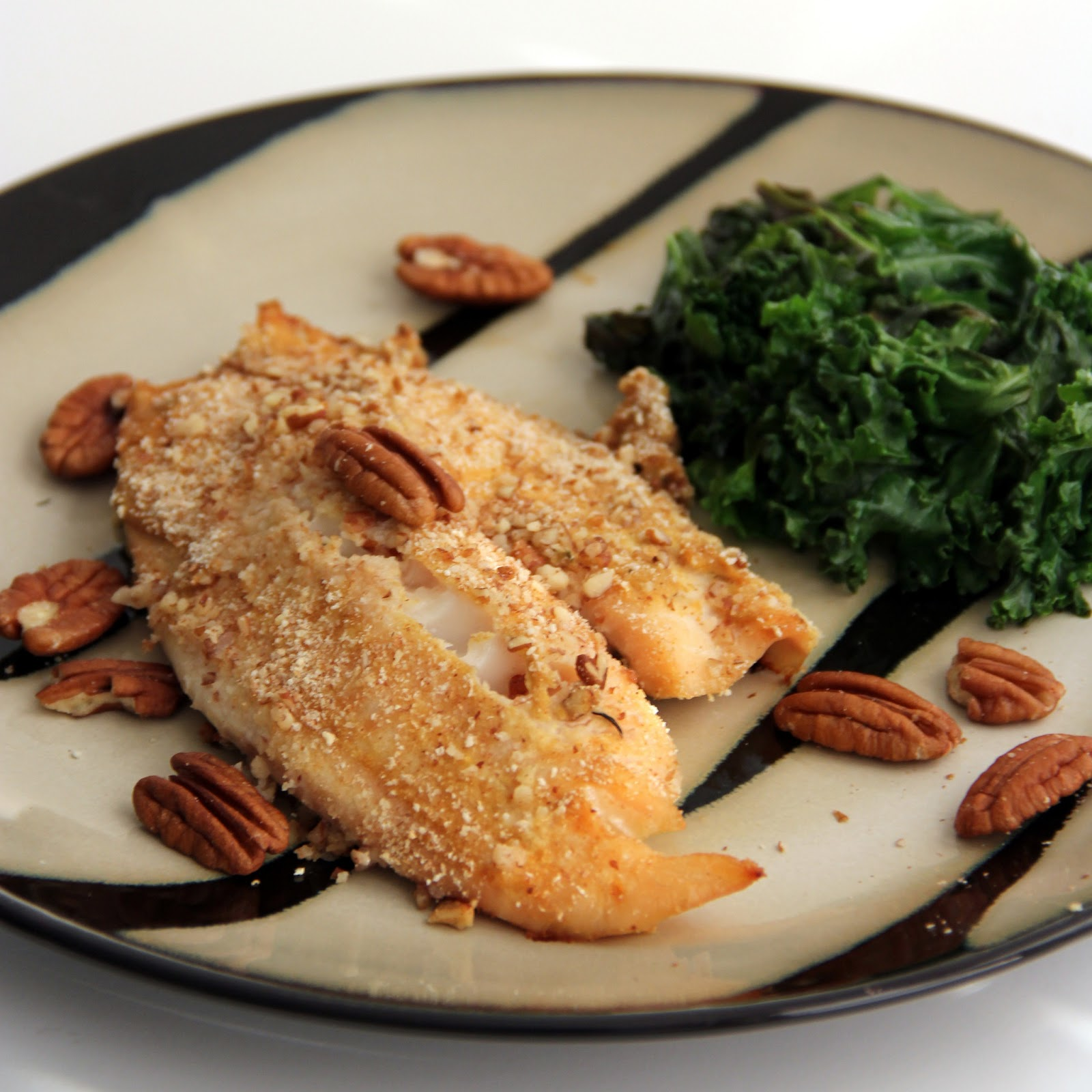 Pecan-Crusted Tilapia (adapted from here )