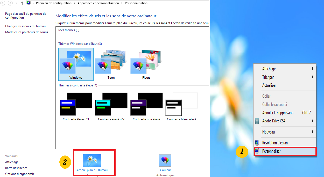 comment changer l 39 arri re plan du bureau dans windows 8 astuces windows 8. Black Bedroom Furniture Sets. Home Design Ideas