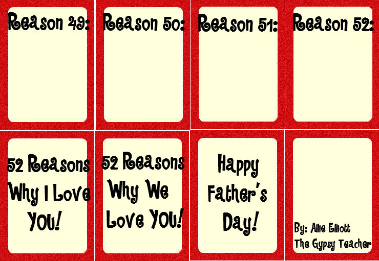 Father 39 s day gift the gypsy teacher for 52 reasons why i love you template powerpoint