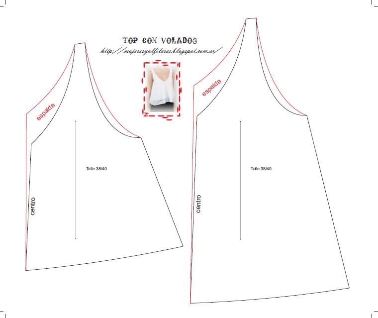 Mujeres y alfileres: Top con volados con molde para imprimir