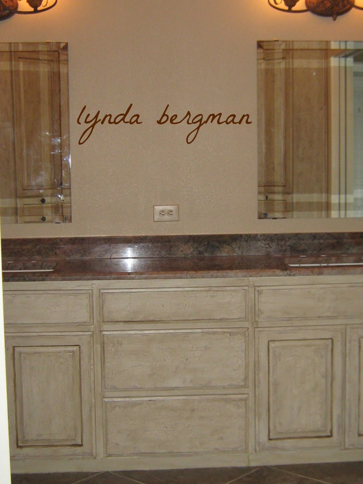 LYNDA BERGMAN DECORATIVE ARTISAN DISTRESSED FAUX FINISH ON BATHROOM CABINETS