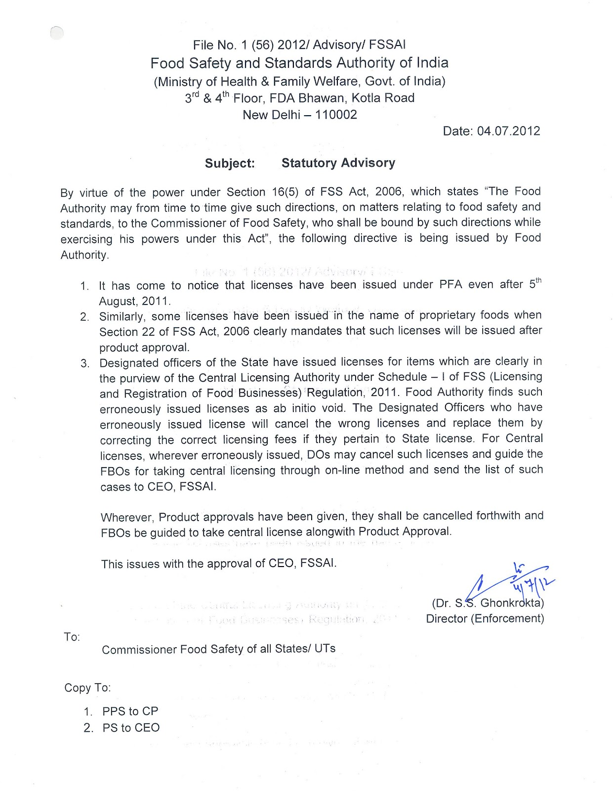 food safety latest jul  fssai statutory advisory