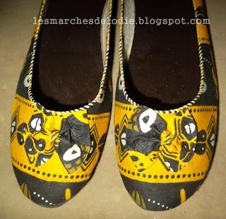Marché des artisans - Douala - Chaussures en wax -Les Marches d'Elodie