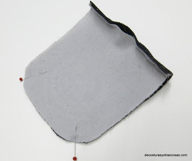 bolsillo de plastón forrado