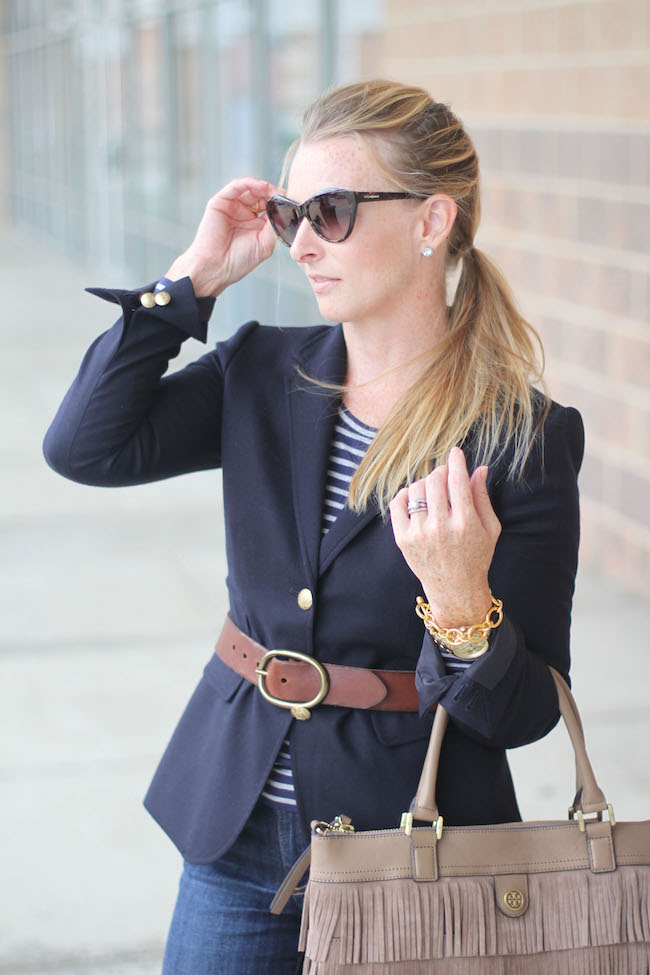 saint laurent sunglasses, nordstrom earrings, jcrew blazer