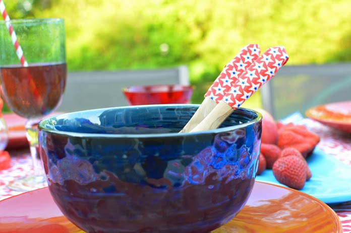use duct tape to cover your utensils for an easy Memorial Day diy