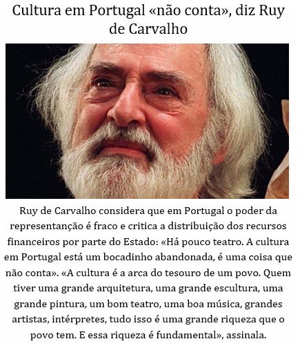 CULTURA EM PORTUGAL NÃO CONTA