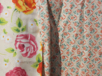 Fabrics with retro floral prints