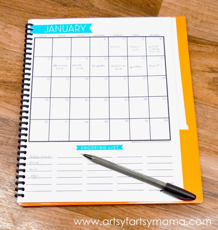 Monthly Menu Calendar : Free printable monthly menu planner artsy fartsy mama