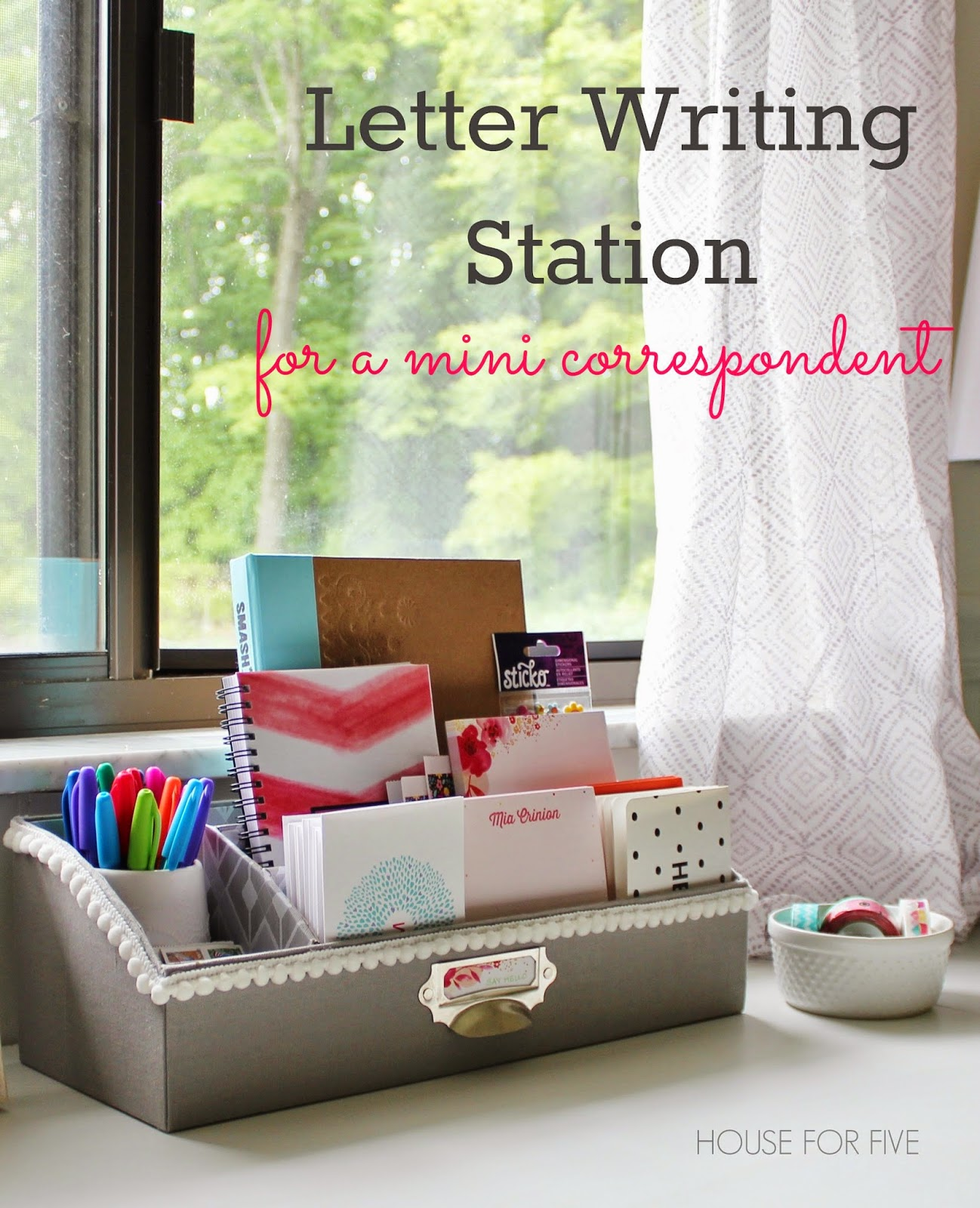 Letter writing station for a little correspondent