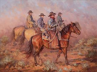 Oleos de Vaqueros Americanos Montados Caballo