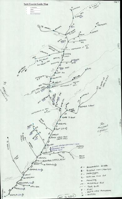 Spiti Valley Guide Map via Shimla Kinnaur