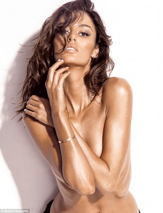 Photo Australian Supermodel Nicole Trunfio Goes Topless for Maxim Magazine Cover