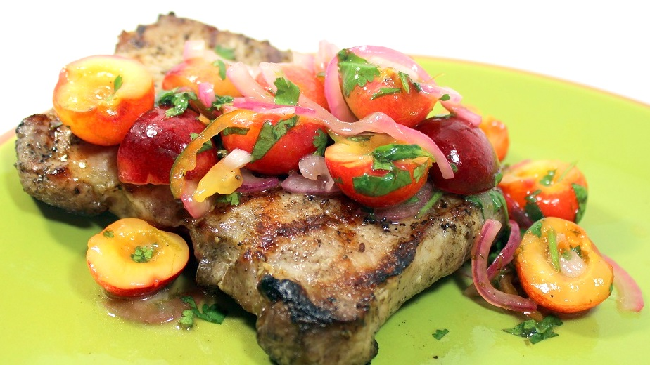 grilled pork chops grilled pork chops with cherry salsa recipe