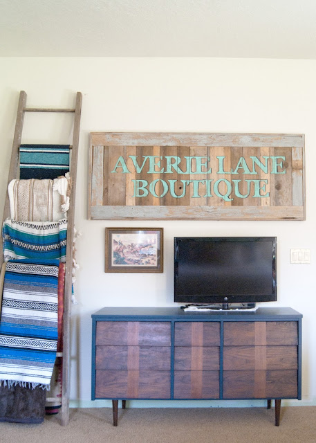 Mid Century Dresser - Navy & Jacobean - rustic store sign - ladder with mexican blankets