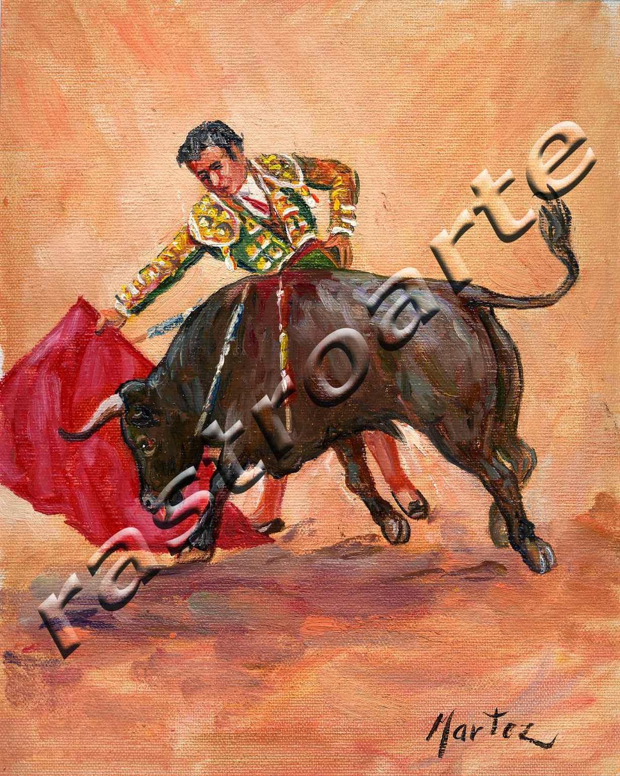 Torero mandando al toro con la diestra