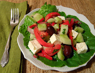 Greek Salad on Plate with Fork