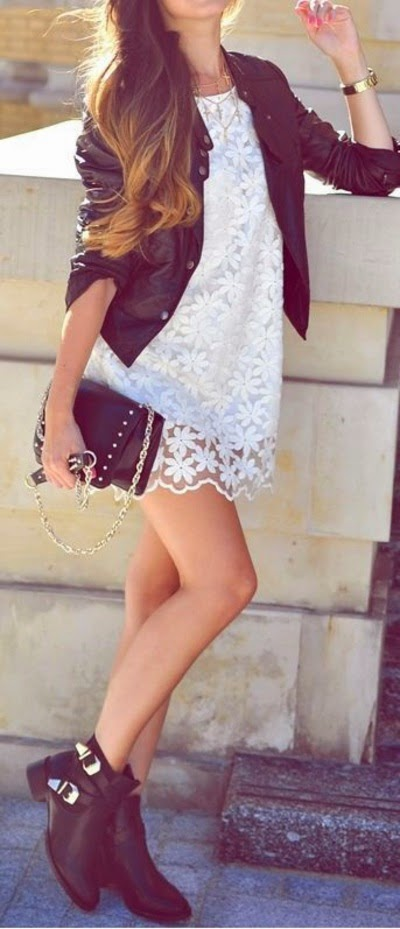 Attractive White Lacy Dress with Black Jacket, Clutch Bag and Boots