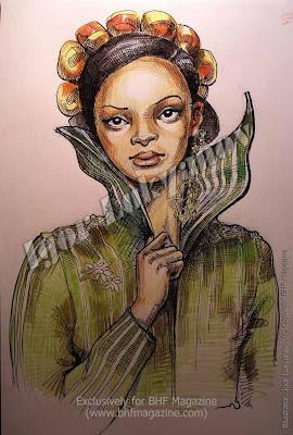 disegno di moda africana per una rivista