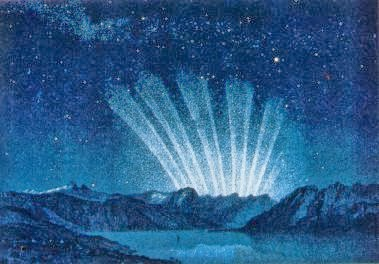 "This painting of the Great Comet of 1744, or ""Comet de Cheseaux-Klinkenberg"", was painted by Amedee Guillemin in 1877"