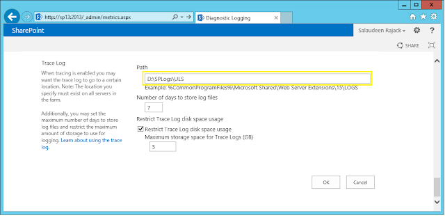 set log file location for ULS/Trace Logs in sharepoint