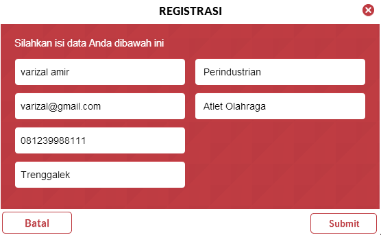 Form registrasi Simulasi CAT Menpan