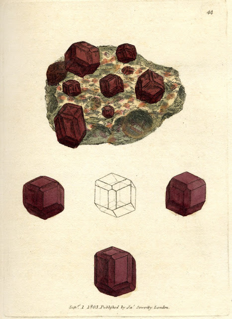 SILEX granatus. Garnet. Plate no. 44. From: Sowerby, James. 1802-1817. British Mineralogy: Or Coloured figures intended to elucidate the mineralogy of Great Britain. Plate from vol: 1. page no.92. Modern name: Garnet.