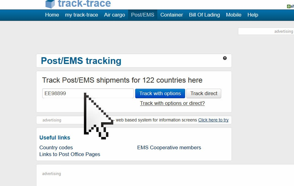 To use ems track trace first go to the track trace site here type in