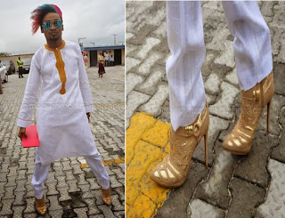 See Denrele heels to Tiwa ' s Wedding .