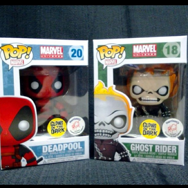 Funko Pop Glow In The Dark Ghost Rider And Deadpool