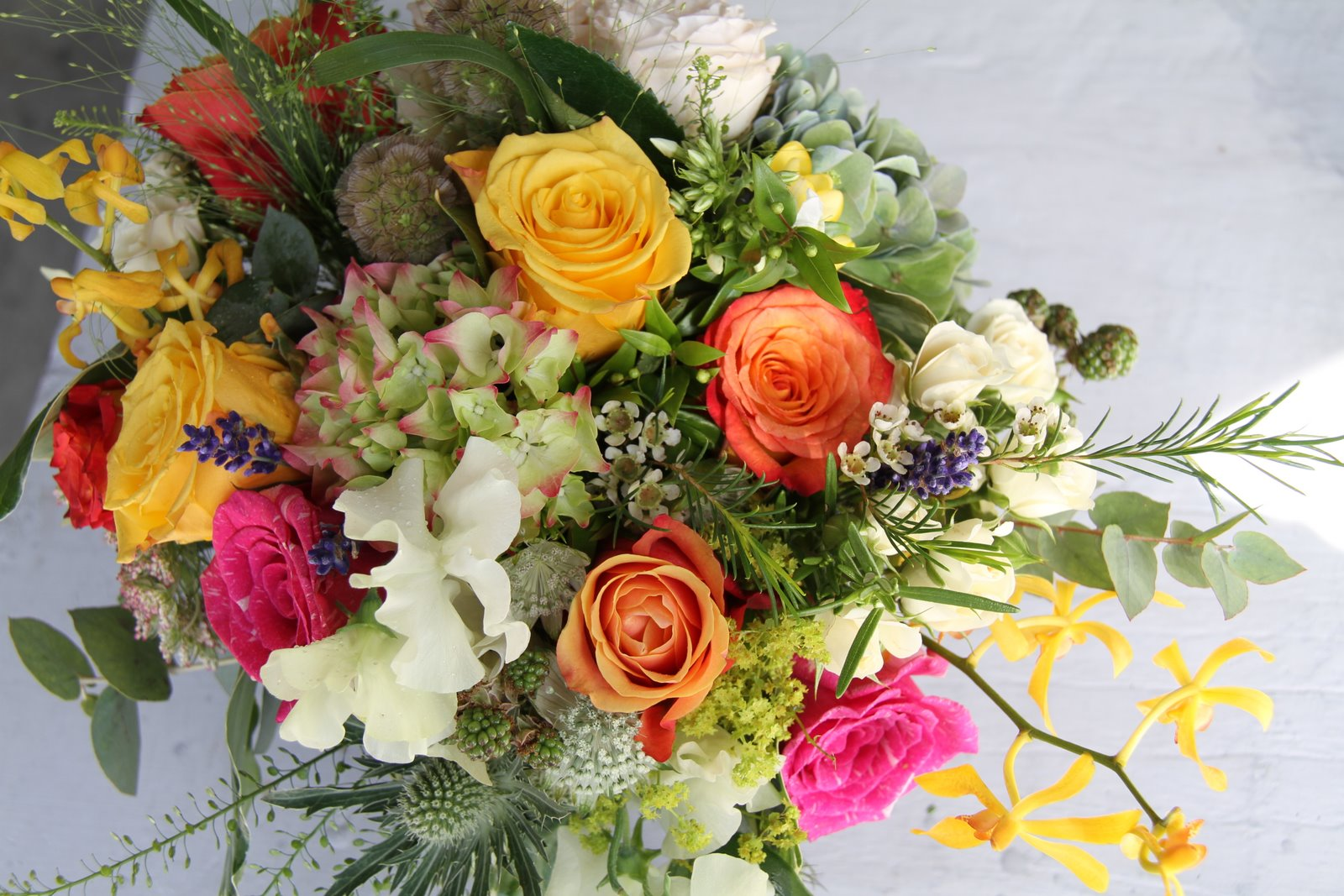 The Flower Magician Bright Vivid Slightly Wild Wedding Bouquet