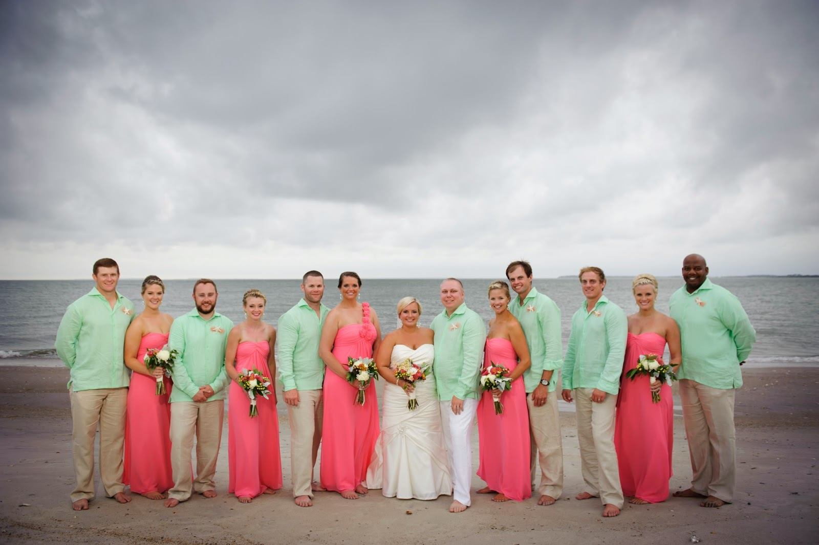 Coral And Mint Wedding Groomsmen