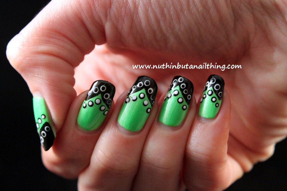 nuthin\' but a nail thing: Barry M Neon Green, tipped and polka dotted