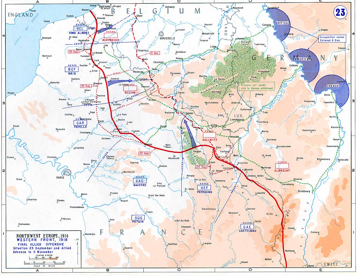 as the map below shows the positions the two sides occupied on 30 aug 1918 were not materially different from the positions they held on 21 feb 1916