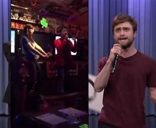 Daniel Radcliffe raps at karaoke