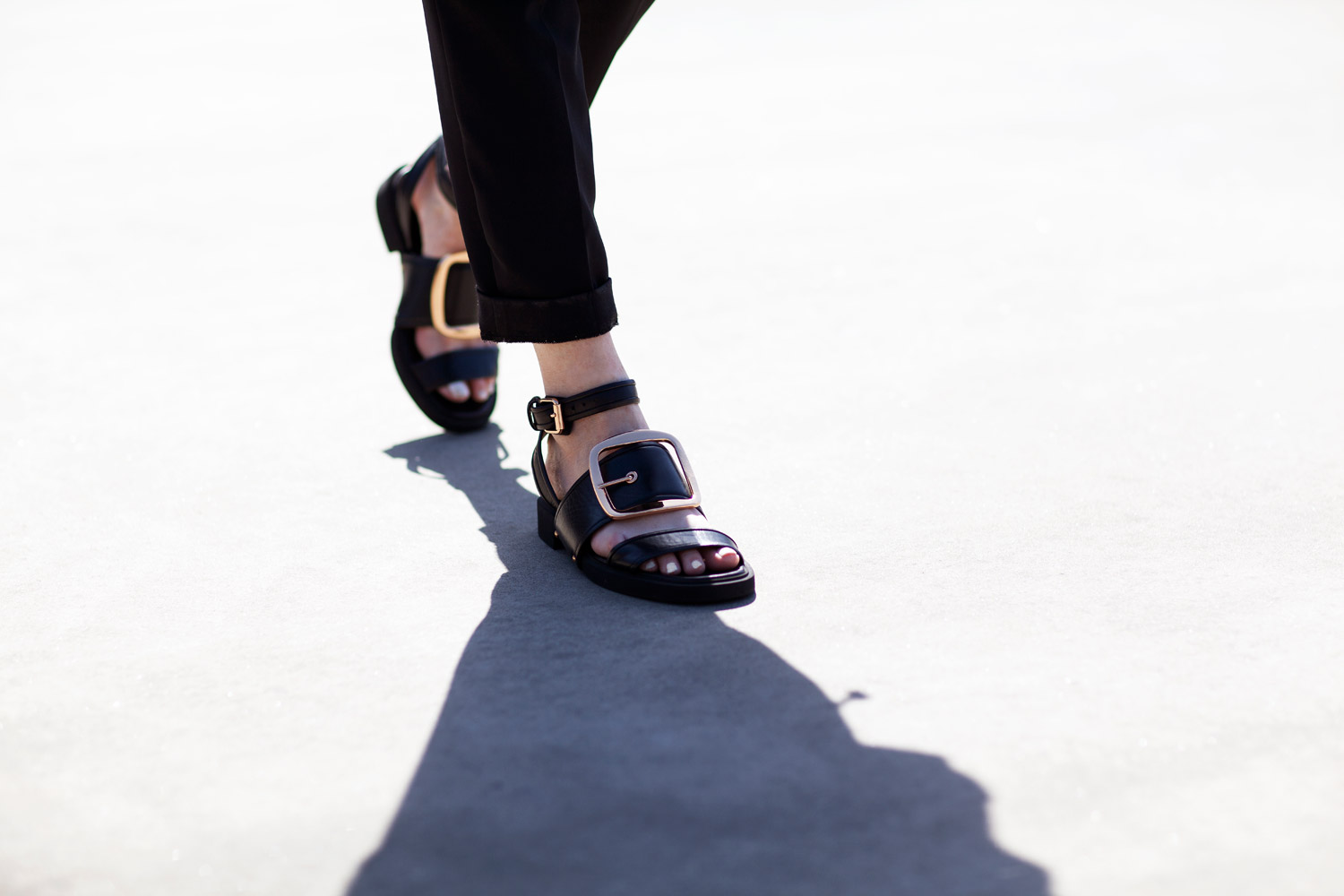 Givenchy sandals gold buckle