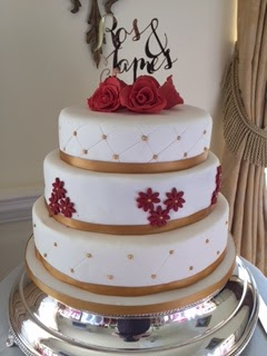 Caroline Makes....: Three-Tier Red and Gold Wedding Cake - for ...