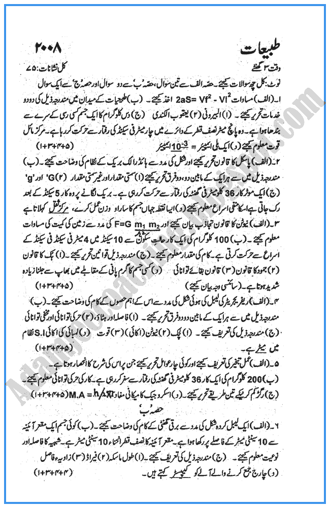 physics-urdu-2008-past-year-paper-class-x