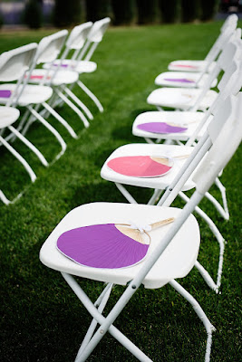 Fans for each guest to keep cool during the ceremony l Lauren Lindley Photography l Hidden Valley Country Club Reno l Take the Cake Event Planning
