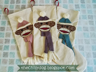 Custom sock monkey Christmas stockings for Our Epic Sock Monkey Christmas