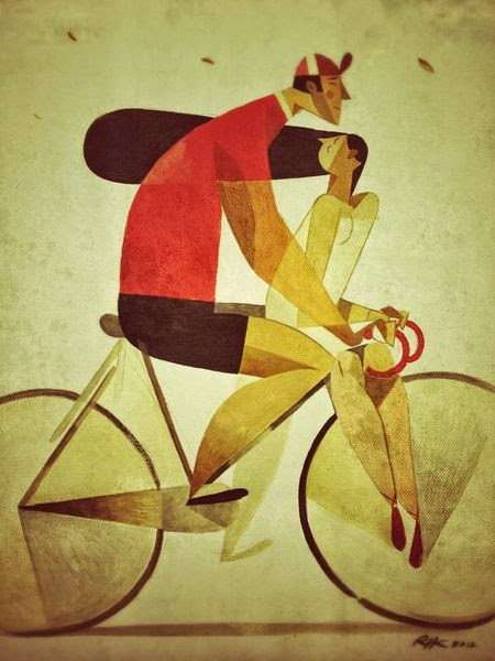 a couple on a bicycle illustration by Riccardo Guasco
