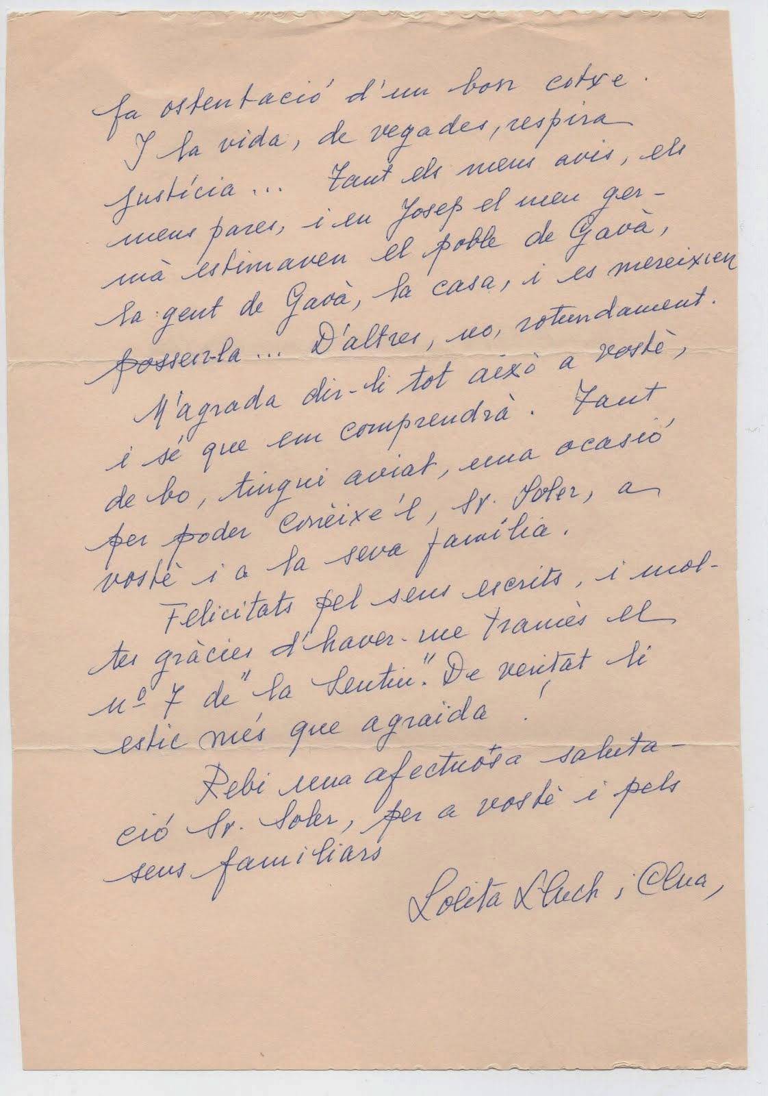 carta de Lolita Lluch a JSV